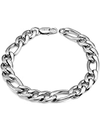 Mens Stainless Steel Bracelet Figaro Chain Bracelet for Men Figaro Link biker bracelet