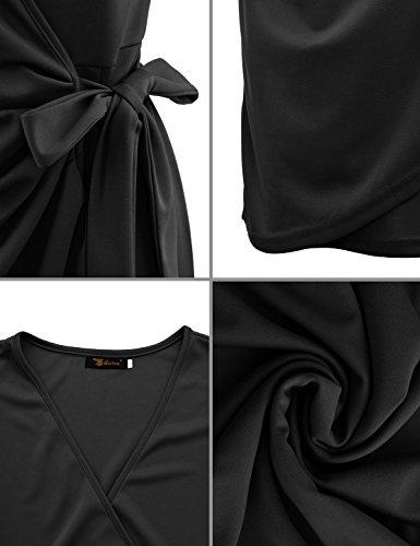 Yidarton Mujer Vestido Mangas Cortas Profundo V-cuello Lápiz Midi Casual De La Fiesta Boda Playa Vestidos negro