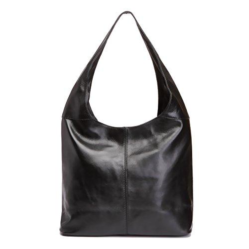 LaGaksta Leather Hobo Handbag Made in Italy/Black