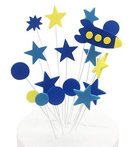 Spaceship Star Cake Topper, KOOTIPS Happy Birthday Twinkle DIY Glitter First Birthday Cupcake Topper Cake Smash Candle Alternative Party -