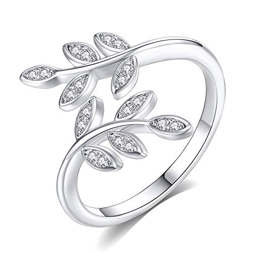 (925 Sterling Silver Plated Olive Branch Crystal Rhinestone Women Opening Ring,Adjustable 6-10)