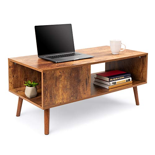 Best Choice Products Wooden Mid-Century Modern Retro Coffee Accent Table, Indoor Furniture w/Open Storage Shelf