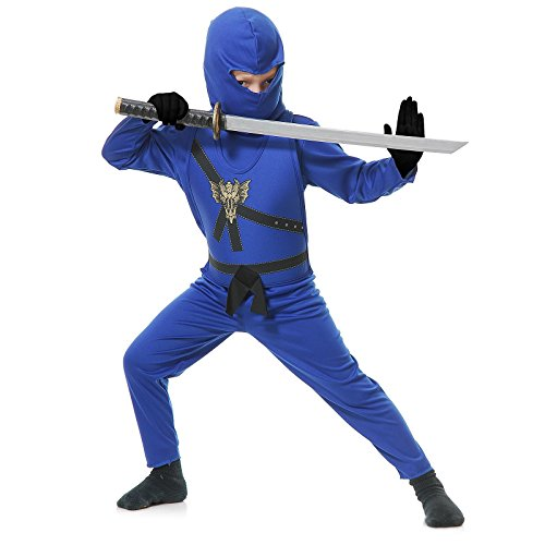 Charades Child's Ninja Avenger Costume Jumpsuit, Blue, Small