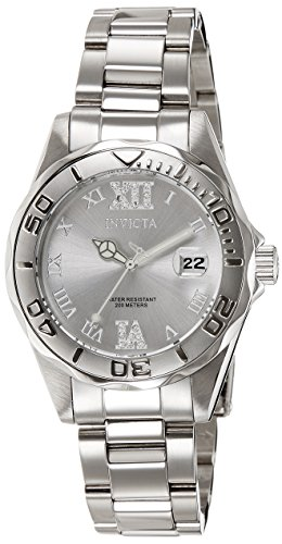 Invicta Women's 12851 Pro Diver Silver-Tone Watch with Crystal (Ladies Diver Sport Watches)