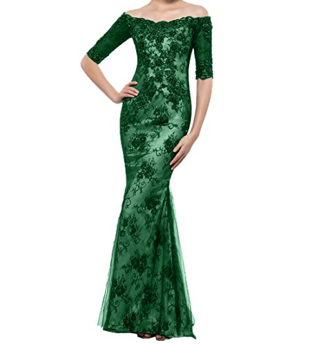 Brautmutterkleider Gruen Damen Abendkleider Elegant Charmant mit Langarm Ballkleider Meerjungfrau Dunkel Partykleider Langarm xTf0xP7qRw