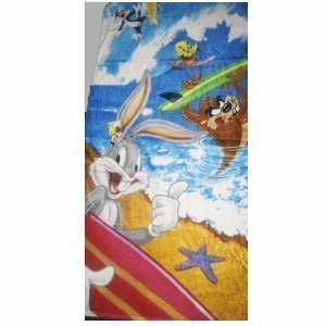 (Looney Tunes Tweety, Bugs Bunny, Taz Tasmanian Devil, & Sylvester Surfing Beach Towel ~ Can Be Used for Bath by Classy Joint)