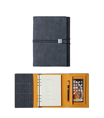 (JCT Hardcover Organizer Notebook - Faux Leather Journal with Pen Holder + Phone Pocket + Business Card Holder + Binders, Bonus Touch Screen Pen & A5 6 Hole Resume Papers & Lovely Sticker (Gray))