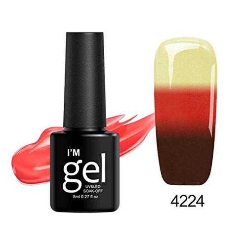 Nail Polish,Caopixx Thermal Nail Polish Color Changing Ultra-Thin Glitter Soak Off Painted Oil 8ML (V) (Coat Gel Fantasy)