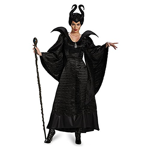 Homelix Women's Disney Maleficent Black Christening Gown Deluxe Costume (L 12-14)