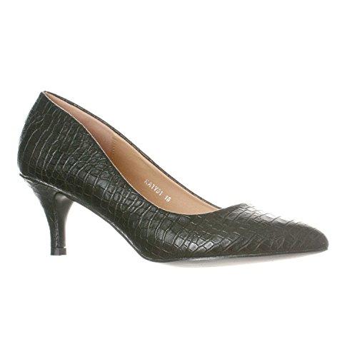 Riverberry Women's Katy Pointed, Closed Toe Low, Kitten Heel Pumps, Black Croc, 10