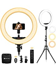Yesker Advanced 18-inch LED Ringlight Support Manual Touch Control Screen, Wireless Remote Controller 3200-5500K, Ring Light Stand Included for Makeup YouTube Video Shooting Blogger Salon, Selfie