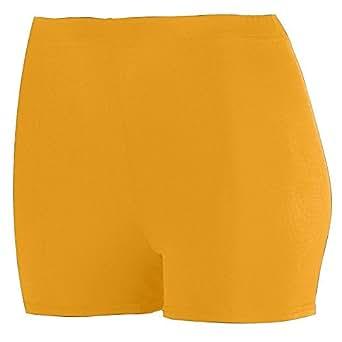 "Ladies Poly/Spandex 2.5"" Short - Gold - 2XL"
