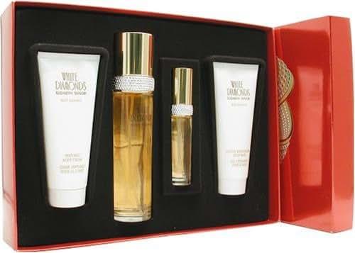 White Diamonds by Elizabeth Taylor for Women, Set (Eau De Toilette Spray 3.4 Ounce, Eau De Parfum Spray 0.5 Ounce, Body Lotion 3.3 Ounce, Body Wash 3.3 Ounce)