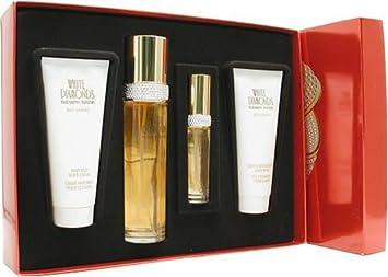 White Diamonds by Elizabeth Taylor for Women, Set Eau De Toilette Spray 3.4 Ounce, Eau De Parfum Spray 0.5 Ounce, Body Lotion 3.3 Ounce, Body Wash 3.3 Ounce