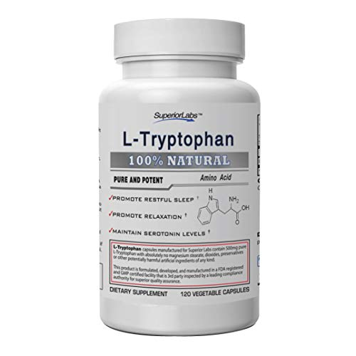 Superior Labs - Pure L-Tryptophan - 500mg, 120 Vegetable Capsules - Non-GMO Dietary Supplement - Restful Sleep & Relaxation - Maintains Serotonin Levels - Helps Improve Circulation & Reduce Stress.