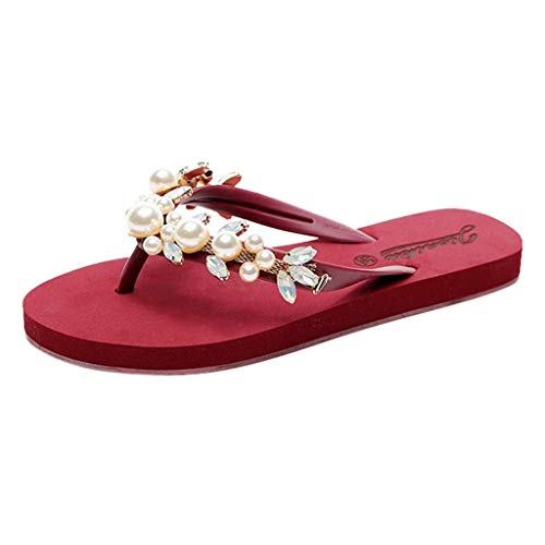 (Gobling Women's Rhinestone Man-Made Gems Sandals Bohemia Non-Slip Flat Beach Slippers Clip Toe Home Slippers (Color : Red, Size : 6.5 M US))
