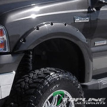 Topline Autopart Matte Black Pocket Rivet Fender Flares Wheel Cover Kit Jr 99-07 Ford F250 F350 Sd