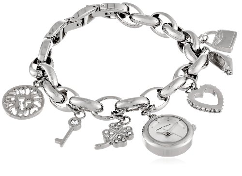 Anne Klein Women's  10-7605CHRM Swarovski Crystal Silver-Tone Charm Bracelet Watch - Swarovski Crystal Heart Watch