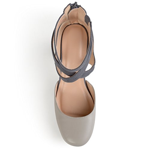 Journee Collection Sangle Cheville Femme Bout Rond Mary Jane Pumps Gris