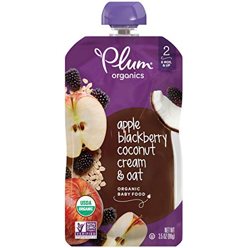 - Plum Organics Stage 2, Organic Baby Food, Apple, Blackberry, Coconut Cream & Oat, 3.5 Ounce pouch (Pack of 12) (Packaging May Vary)