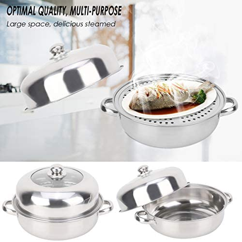 414Q2cLkntL. AC HelloCreate Steamer Pot, Stainless Steel Single Layer Stockpot Hotpot Food Steamer Pot Cookware Household Cooking    Specification:Condition: 100% Brand NewProduct material: stainless steelSteamer layer: single layer + steamed dicePot diameter * Pot height: Approx. 28 * 8.5cm / 11 * 3.3inCover diameter * Cover height: Approx. 27.5 * 8.5cm / 10.8 * 3.3inSteaming sheet diameter * Height: Approx. 27.8 * 0.2cm / 10.9 * 0.1in