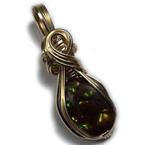 Mexican Fire Agate Pendant, Orange Green Flash, 14K Gold Filled wire wrap jewelry by Rocks2Rings with Black Leather Necklace 16g25 Z