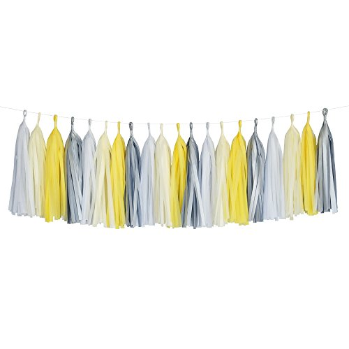 Tissue Paper Tassel DIY Party Garland (20 Tassels Per Package) - 14 Inch Long Tassels (Yellow-Ivory-White-Gray)