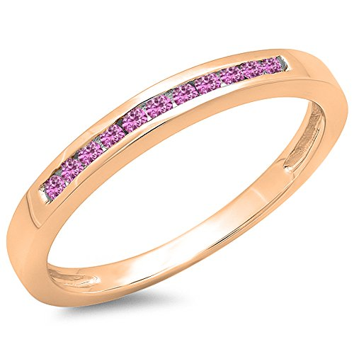 0.15 Carat (ctw) 14K Rose Gold Round Pink Sapphire Ladies Wedding Band Stackable Ring (Size 6) - Pink Sapphire Stackable Ring