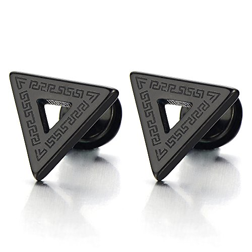 Stainless Steel Mens Black Triangle Stud Earrings with Greek Key Pattern, Screw Back 2pcs ()