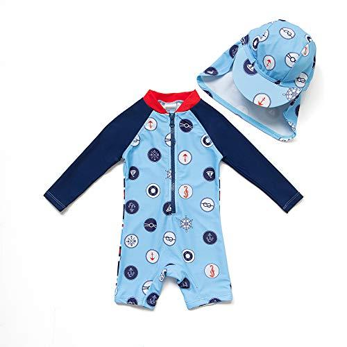 (Bonverano TM Infant Boy's UPF 50+ Sun Protection L/S One Piece Zip Sun Suit(Sky Blue 18-24mos))