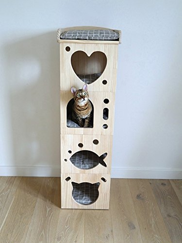 pinkwood Stylish and Modern Wooden Cat Tower with Pillows made from Felt and Rope