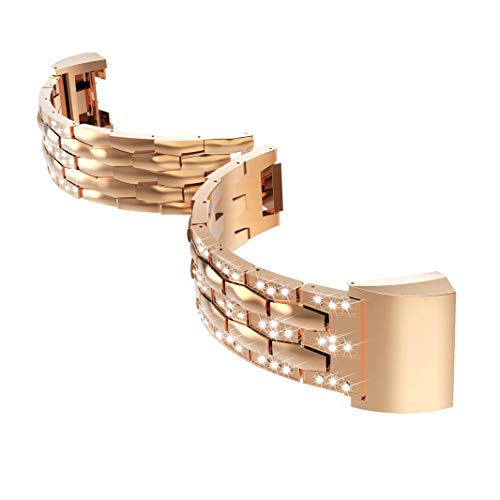 Kendd Band Compatible Fitbit Charge 2 - Synthetic Jewelry Bracelet Adjustable Watch Band Compatible Fitbit Charge 2 Fitness Tracker.Silver,Gold,Rose Gold,Black