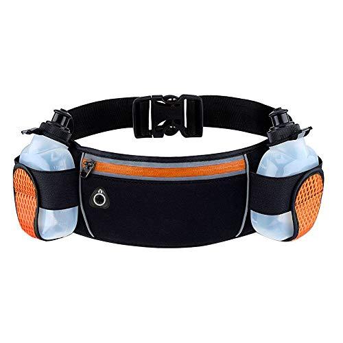 Timotech Cangurera para Cadera [Color Naranja] Cinturón de Running con Botella de Agua (Incluidas) para Correr, Caminar o...