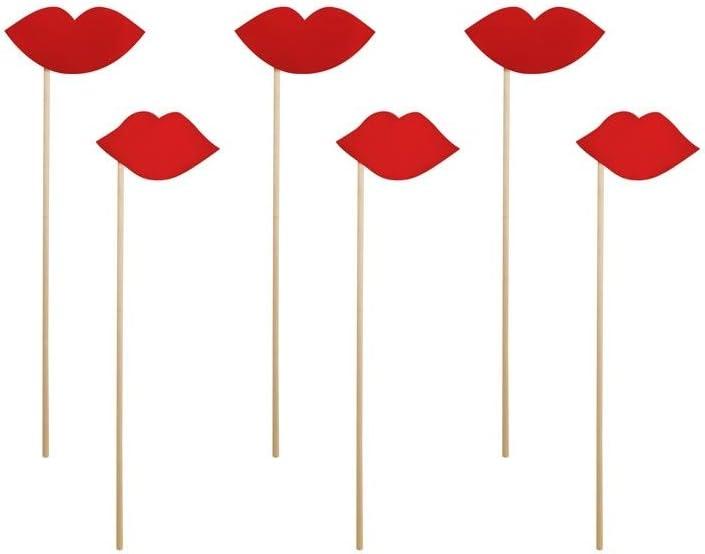 DISOK Pack Labios Rojos (6 uds) Photocall, Photo Call de Bodas, Celebraciones, Fiestas y Eventos: Amazon.es: Juguetes y juegos