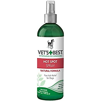 Vet's Best Dog Hot Spot Itch Relief Spray | Relieves Dog Dry Skin, Rash, Scratching, Licking, Itchy Skin, and Hot Spots | No-Sting and Alcohol Free | 16 Ounces