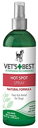Vet's Best Dog Hot Spot Itch Relief Spray | Relieves Dog Dry Skin, Rash, Scratching, Licking, Itchy Skin, and Hot Spots | No-Sting and Alcohol Free | 16 Ounces ()
