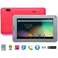 Tagital 7 Quad Core Android 4.4 KitKat Phone Tablet Phablet, Bluetooth, Dual Camera, Play Store Pre-installed, 2015 Newest Model Pink