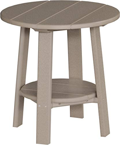 LuxCraft Recycled Plastic Deluxe End Table with Shelf, American Made, Weatherwood