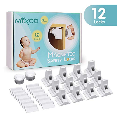 Mixoo Cabinet Locks Child Safety (12 Locks + 2 Keys) for Drawer, Cupboard,Closet, No Tools or Screws Needed