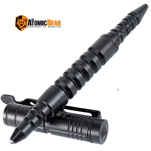 The Atomic Bear Tactical Pen - Self Defence Pen and Window Breaker - Used in Police and Military Gear - Best Defense Ballpoint Pens with Free Pouch and 2nd Ink Refill
