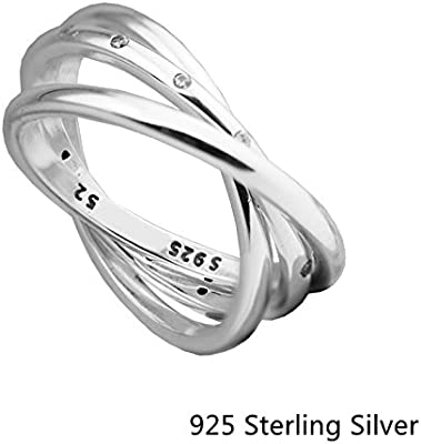 2a1789f73 Rings Compatible With Pandora Jewelry 925 Sterling Silver Swirling Symmetry,  Clear CZ Original Charms (58)