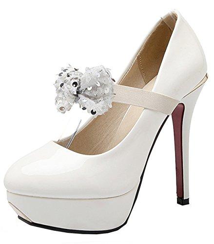 YE Damen High Heels Plateau Geschlossene Runde Zehe 12cm Absatz Lackleder Mary Janes Pumps Schuhe mit Schleife Weiß