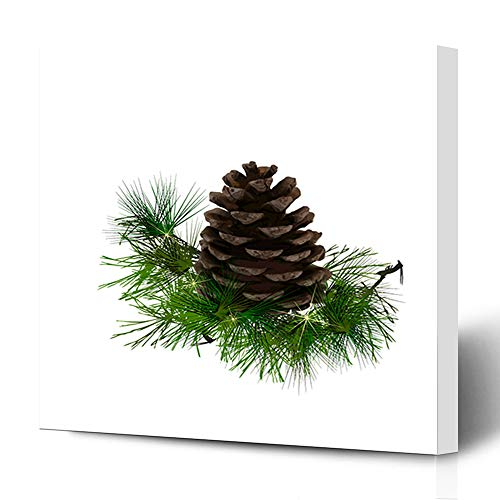 Ahawoso Canvas Prints Wall Art 12x16 Inches Evergreen Brown Pinecone Pine Cone Needles Nature Green Branch Christmas Closeup Conifer Cultivated Design Decor for Living Room Office Bedroom