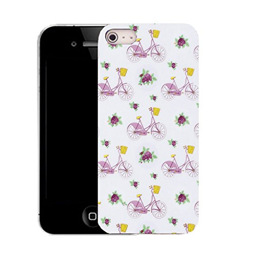 Mobile Case Mate IPhone 4s clip on Silicone Coque couverture case cover Pare-chocs + STYLET - purple shopping bicycle pattern (SILICON)