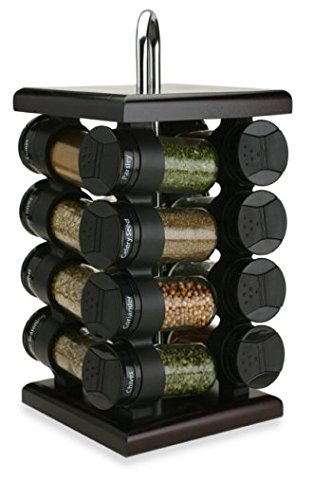 (Olde Thompson 16-Jar Espresso Wood Spice Rack)