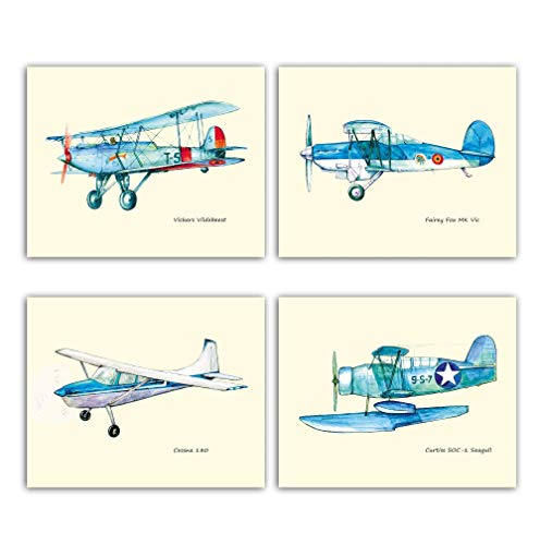 (Blue airplanes Four 8x10 prints Solid Ivory paper Vintage planes nursery decor)