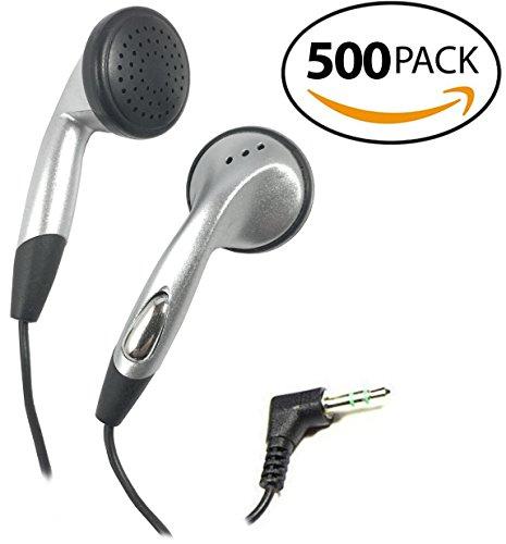 SmithOutlet 500 Pack In-Ear Bulk Earphones in Silver by SmithOutlet