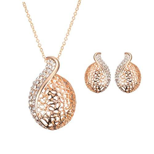 Creazy Bridal Crystal Wedding Jewelry Set Alloy Necklace Earrings Rhinestone (061GD#)