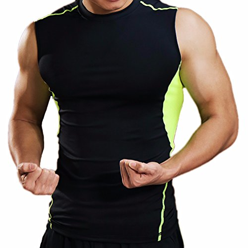 CFR Sport Base Layer Compression Tights Vest Men Activewear Muscle Tank for Fitness Workout Running Rashguard Black&Green,M UPS (Dri Fast Advantage)