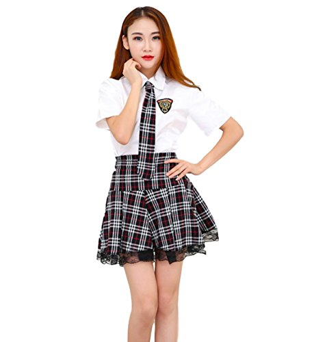 Moon Market Women's Private School Girls Japanese Uniform Anime Cosplay Costume Outfits (L (US4-6), Black) Pleated Skirt Shorts Sleeve Shirts Tie Sleepwear Socks Stocking Tails tee Thong Mini (Piece One Replica)